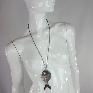 Vintage silver fish necklace
